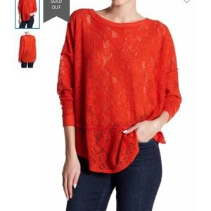 Free People Not Cold in This Floral Knit Top Red S